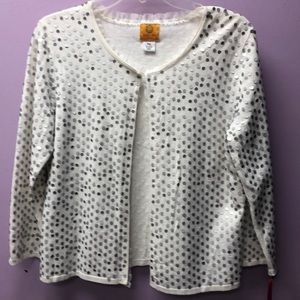 NWT Ruby Rd. White sequin cardigan size xl pet.